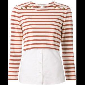 Veronica Beard Anchor Combo knit button top sz xs